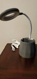 LED Desk Lamp and Organizer with USB Charging Port (Gray)