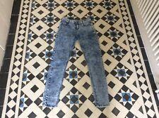 NEW LOOK BLUE ACID WASH SKINNY MID RISE JEANS SZE 8 LEG 30