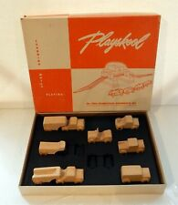 Vintage 1940s 50s Hardwood Playskool Car Truck Set 5964 Wood INCOMPLETE 8of10PC