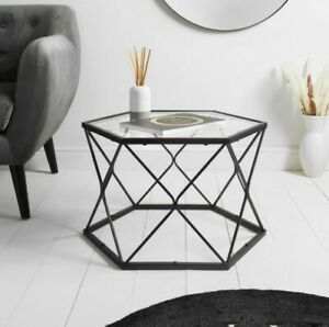 NEW Black Coffee Tables With Glass Top Set Sofa Side End Tables Living Room Home