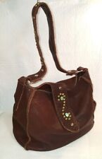 ETERNAL PERSPECTIVE Brown Bison Leather Handbag with Stones and Studs