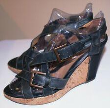 Sofft CARL Dark Blue Wedge Cork Ankle Strap Buckle Leather Sandals Sz 10M