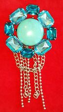 HUGE Vintage Chatelaine Pin Brooch Turquoise Stone & Teal Clear Rhinestones