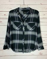 Rails Womens XS Extra Small Black White Purple Plaid Soft Flannel Fall Top Shirt