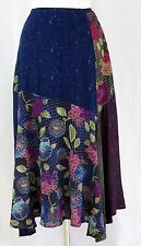 Koos of Course Skirt S Patchwork Boho Hippie Blue Purple Green Asymmetrical Hem