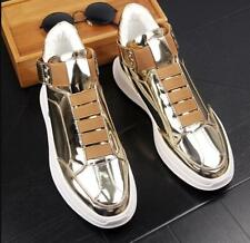 Men Casual Outdoor Sport  Shoes Slip On Paint Leather Mid Top Boots Shoes Gold