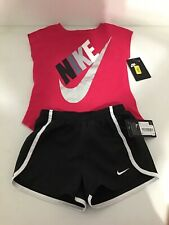 Nike Athletic Outfit Shirt Shorts Pink Black Size 6X New!