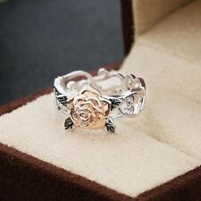 Fashion Silver Floral Ring 14k Rose Gold Flower Wedding Party Jewelry Gift New
