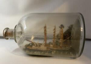 ANTIQUE VINTAGE GRAND 3 MAST SCHOONER NAUTICAL DIORAMA SHIP IN A BOTTLE
