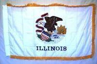 3x5 Illinois State Poly Nylon Sleeve w/ Gold Fringe Flag 3'x5' Banner