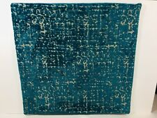 West Elm Blue Turquoise Velvet Brocade Abstract Pillow Cover Sham 20 x 20 in