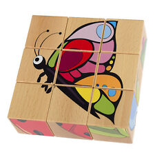 Colourful Cube Wooden Puzzle - Grassland • Ecological PILCH Toy 2yrs