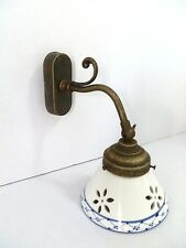 Applique brass burnished with ceramics perforated blue to 1 light beautiful E14