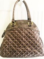 Big Buddha Quilted Patent Leather Brown Purse Shoulder Bag Large Zipper