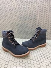 Timberland Premium 6 Inch Blue Nubuck Waterproof Lace Up Boots Men's Size 8.5 M