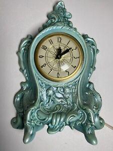 Holland Mold Lanshire Movement Mantel Clock Electric Ceramic Cherub WORKING