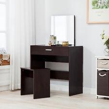 Vanity Espresso Dressing Table Stool Set Makeup Dresser Desk with Mirror Drawer