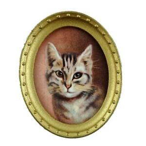 Dolls House Miniature Cat Portrait Picture Painting in Gold Frame
