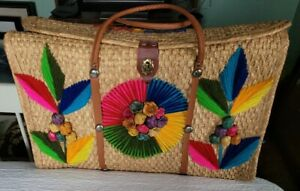 Vintage 1960's Acapulco Straw beach Bag tote embroidered  large