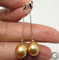 MIRROR LUSTER GOLDEN SOUTH SEA PEARL, DIAMONDS & SOLID 18K GOLD EARRINGS #E1847