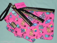 Betsey Johnson Pink Cats 3 Piece Cosmetic Travel Pouch Set New With Tag