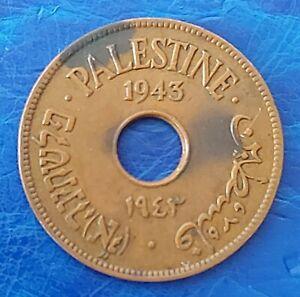 Israel Palestine British Mandate 10 Mils 1943 Bronze Coin VF+