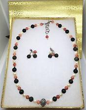 Bloodstone, Rhodochrosite, Akoya Pearl Beads Silver Jewelry Set Green Pink White