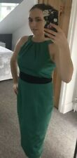Coast Emerald green pencil wiggle evening occasion party dress satin UK 10