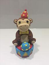 Fondant 3D Circus Monkey With Ball And Podium Base, Fondant Circus Cake Topper.