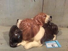 More details for heredities charm of creamware  - basset hound pair cuddled up