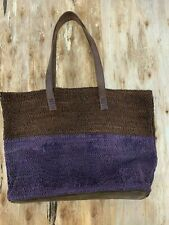 Will Leather Goods Purple Woven Leather Sample Tote NEW