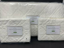 New~Pottery Barn Washed Velvet Silk Diamond Quilt~Full Queen~2 Shams~Ivory