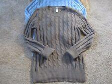 GAP Brown Sz M Cotton Nylon Blend Cable Knit Sweater Crew Neck
