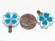 1pc. Glow in Dark glass Perfume Blue Lucky Irish 4 leaf clover bottle Screw cap