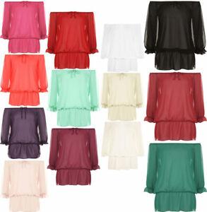 Women Chiffon Gypsy Boho Sheer Top Ladies Off Shoulder 3/4Sleeve Shirt Party Top
