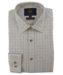Viyella Blue & Brown Mini Tattersall Check 80/20 Cotton Wool Blend Shirt