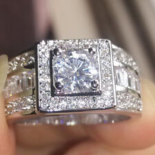 Clear Cubic Zirconia Ring Wedding Jewelry Fashion Men's 18K White Gold Inlaid