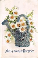 For a Bright Birthday Embossed Daisies Antique Postcard Unposted Writing