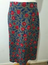 "Seasalt ""Afloat"" Skirt Needlecord Cotton Midi Floral Print Pockets Size 10"