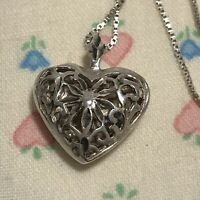 Vintage Sterling Silver Cut Out Filigree Puffy Heart Pendant Charm Chain