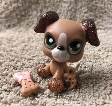 LITTLEST PET SHOP I SPARKLE Brown GLITTER Boxer Puppy #2351 FIGURE
