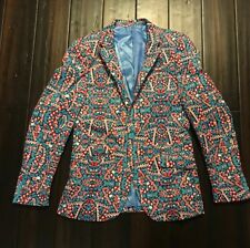 Suslo Couture Christmas Candy Cane Blazer Sport Coat  Ugly Sweater Sz 38 slim
