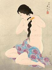 Cultural Japón Geisha Desnuda Peine Natori shunsen cartel impresión de arte imagen bb723a