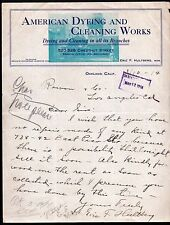 1914 American Dyeing and Cleaning Works Oakland Ca - Eric F Hultberg Letter Head