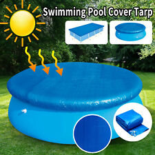 Round &Rectangle Swimming Pool Cover Tarp Dustproof Rainproof Easy Fast Set Rope