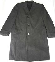 Hickey Freeman Custom Made Tweed Herringbone Overcoat Trench Coat Size 42 R EUC