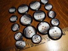 Suit Buttons Set Horn Effect Blazer 24L/36L 17pc 22MM/15MM 4H black white clear