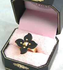Juicy Couture Cocktail Ring Sz 6 Gold Studs Brown Wooden Flower Petals