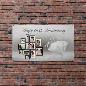 Personalised Photo Happy 60TH Wedding Anniversary 5x3ft Banner
