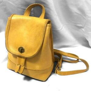 COACH Vintage  Daypack Leather Backpack Bag Yellow 9960 USA